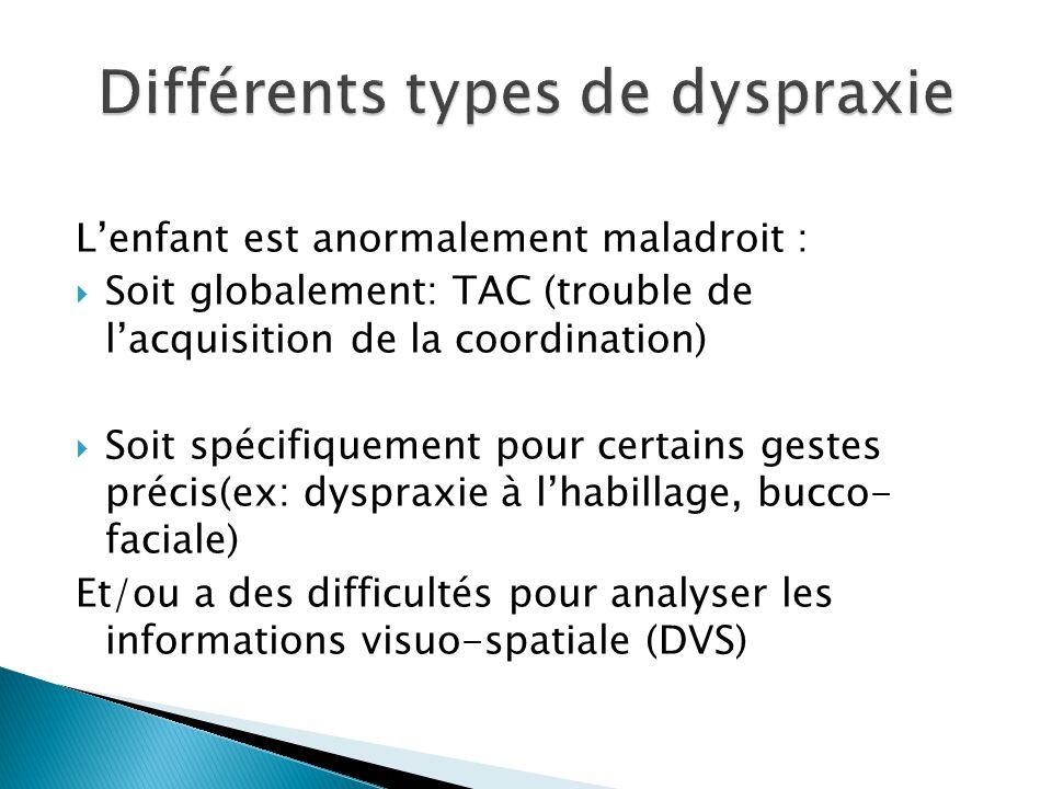 Différents types de dyspraxie