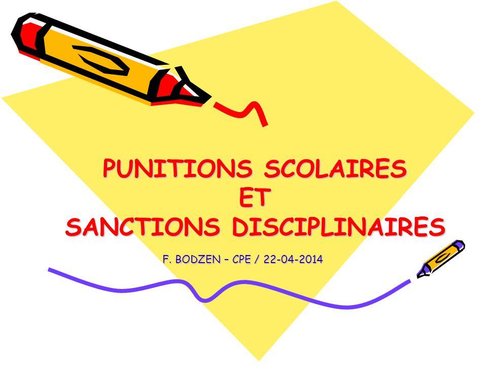 PUNITIONS SCOLAIRES ET SANCTIONS DISCIPLINAIRES