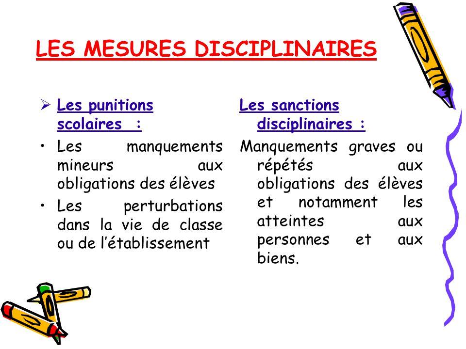 LES MESURES DISCIPLINAIRES
