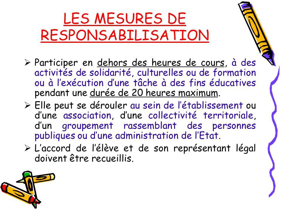 LES MESURES DE RESPONSABILISATION