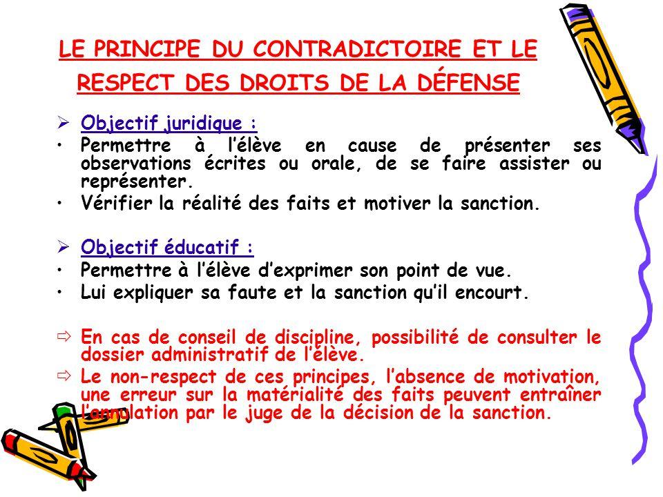 LE PRINCIPE DU CONTRADICTOIRE ET LE RESPECT DES DROITS DE LA DÉFENSE
