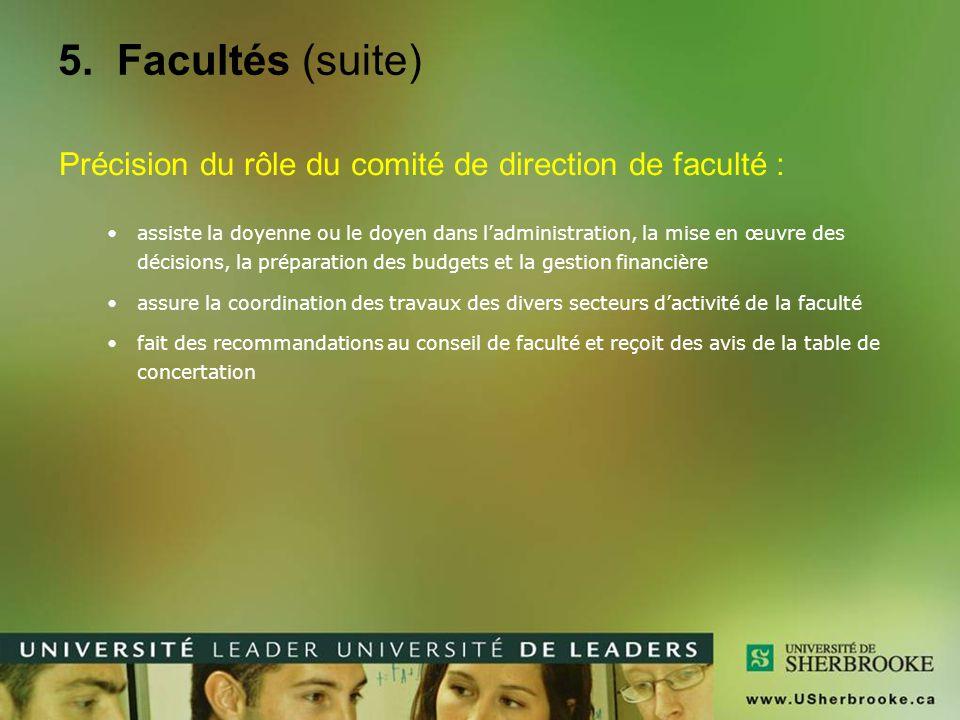 5. Facultés (suite) Précision du rôle du comité de direction de faculté :
