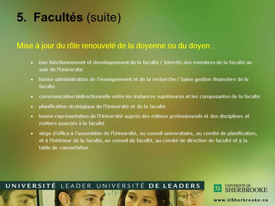 5. Facultés (suite) Mise à jour du rôle renouvelé de la doyenne ou du doyen :