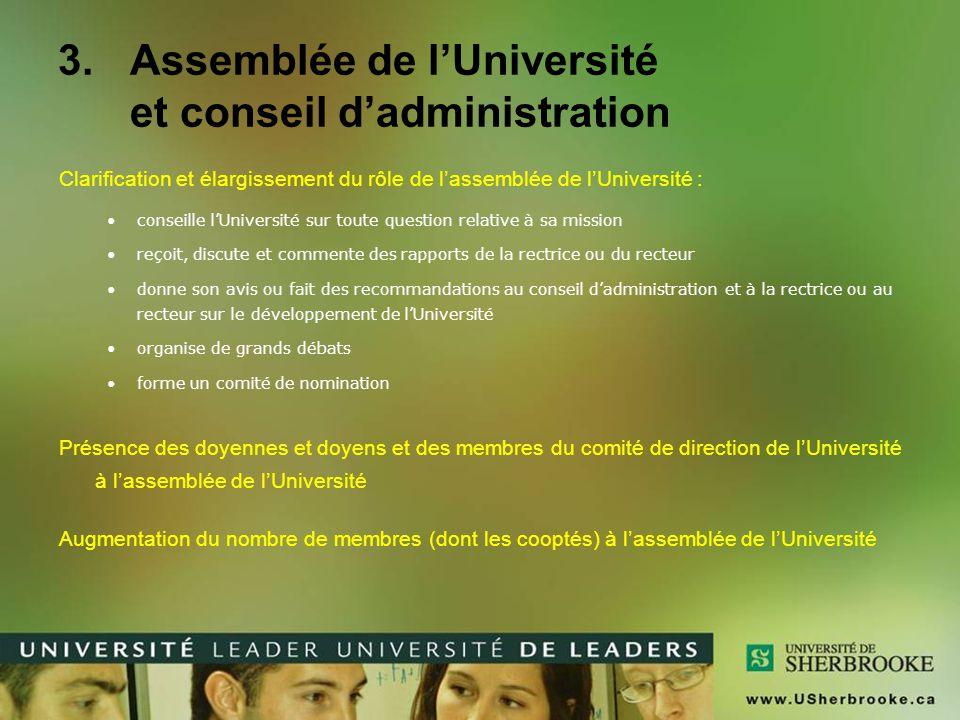 Assemblée de l'Université et conseil d'administration
