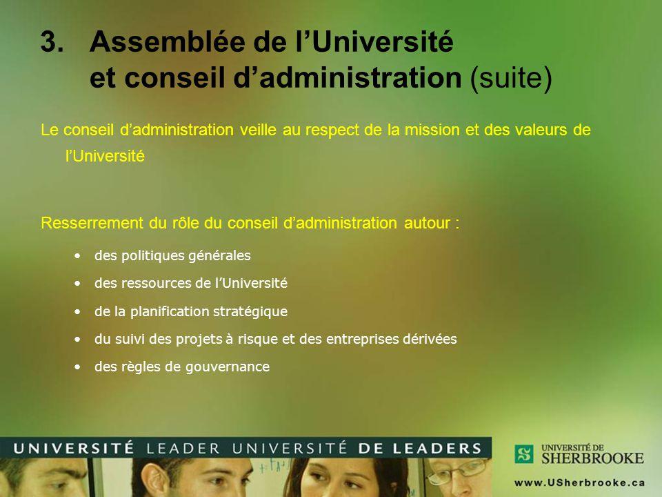 Assemblée de l'Université et conseil d'administration (suite)