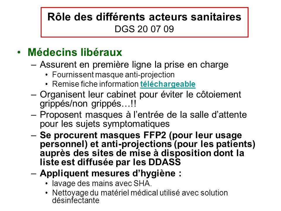Rôle des différents acteurs sanitaires DGS 20 07 09