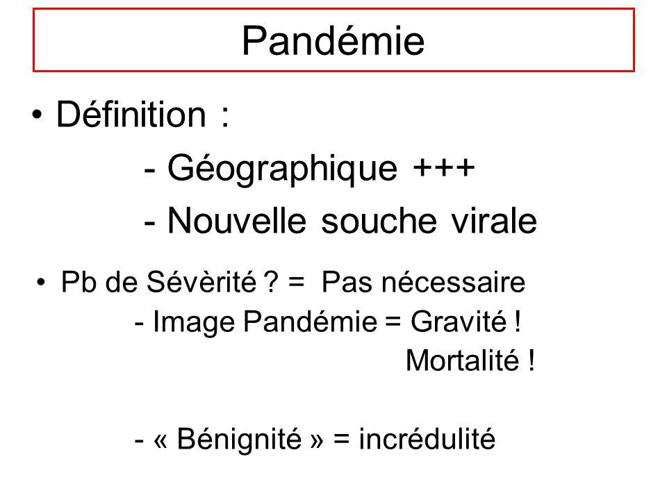 Pandémie Définition : - Géographique +++ - Nouvelle souche virale