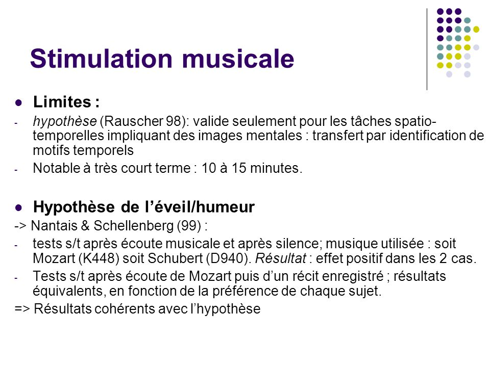 Stimulation musicale Limites : Hypothèse de l'éveil/humeur