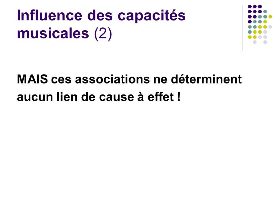 Influence des capacités musicales (2)