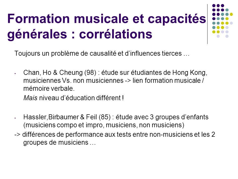 Formation musicale et capacités générales : corrélations