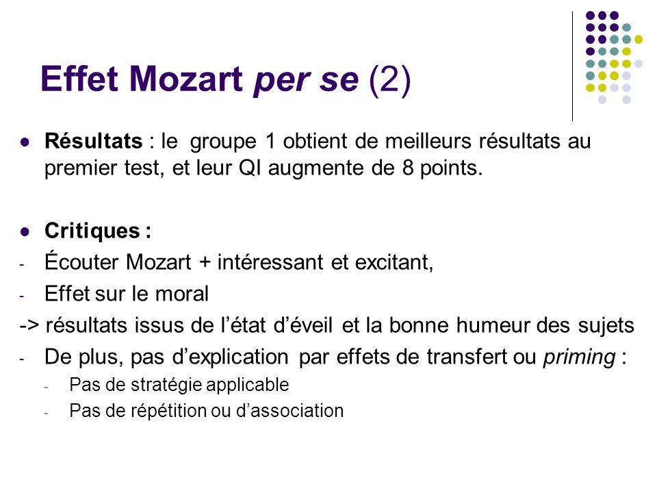 Effet Mozart per se (2) Résultats : le groupe 1 obtient de meilleurs résultats au premier test, et leur QI augmente de 8 points.