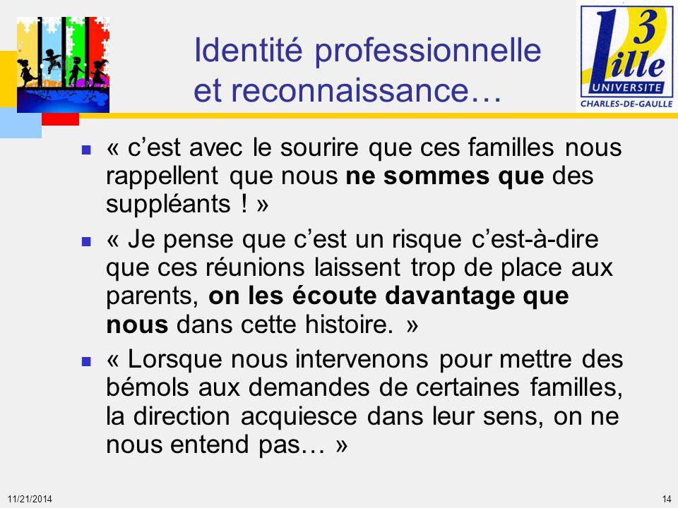 Identité professionnelle et reconnaissance…