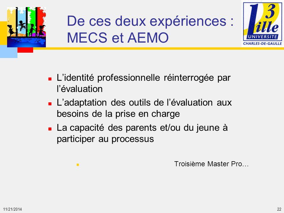 De ces deux expériences : MECS et AEMO