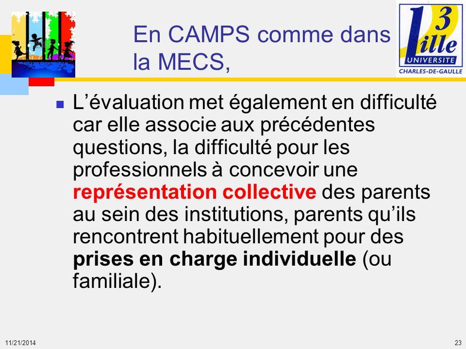 En CAMPS comme dans la MECS,