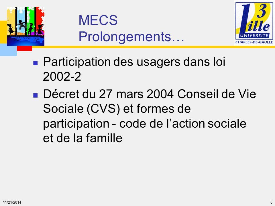 MECS Prolongements… Participation des usagers dans loi 2002-2