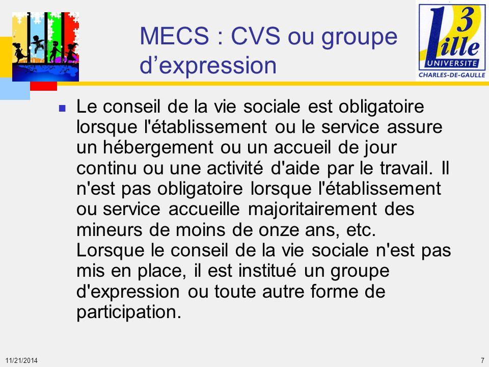 MECS : CVS ou groupe d'expression
