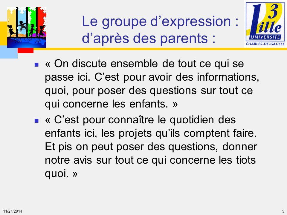 Le groupe d'expression : d'après des parents :