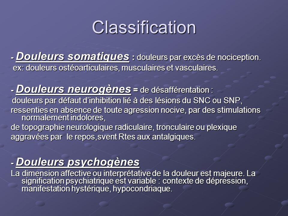 Classification - Douleurs somatiques : douleurs par excès de nociception. ex: douleurs ostéoarticulaires, musculaires et vasculaires.
