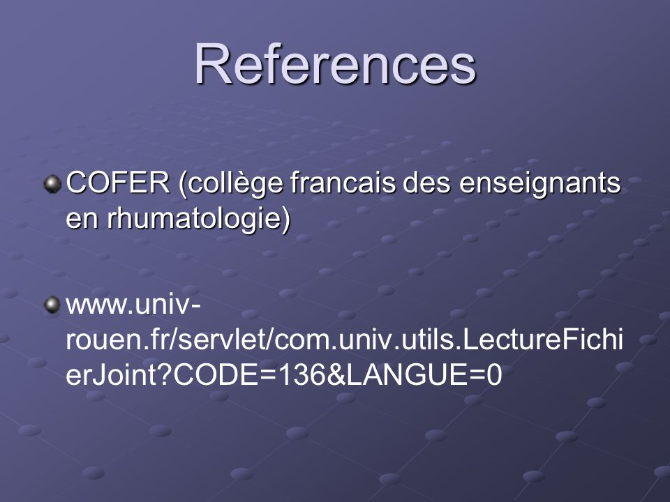 References COFER (collège francais des enseignants en rhumatologie)