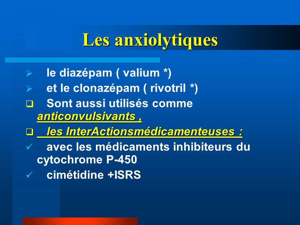 Les anxiolytiques le diazépam ( valium *)