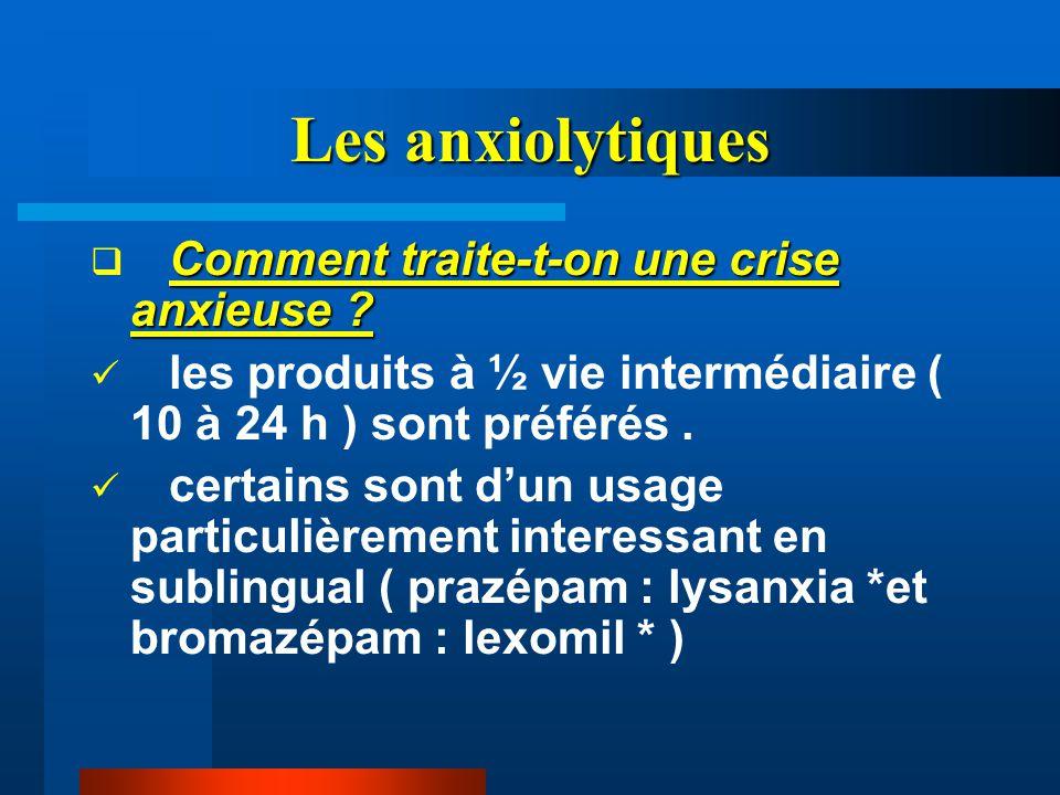 Les anxiolytiques Comment traite-t-on une crise anxieuse