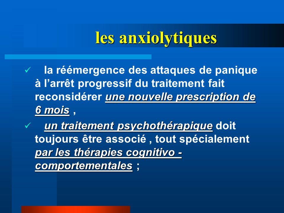 les anxiolytiques la réémergence des attaques de panique à l'arrêt progressif du traitement fait reconsidérer une nouvelle prescription de 6 mois ,