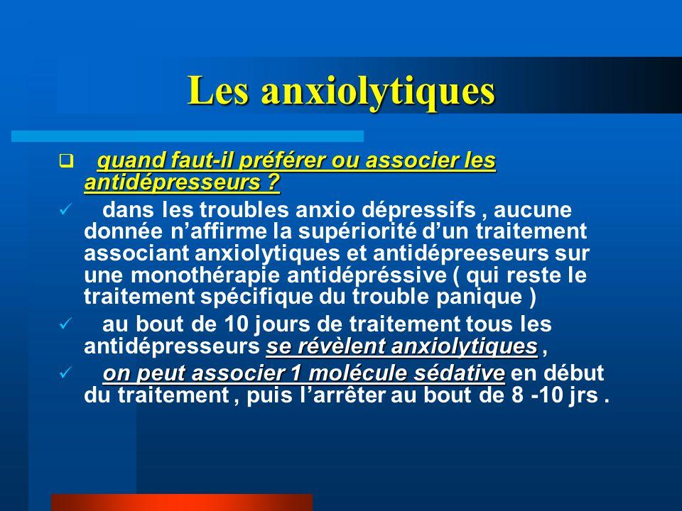 Les anxiolytiques quand faut-il préférer ou associer les antidépresseurs