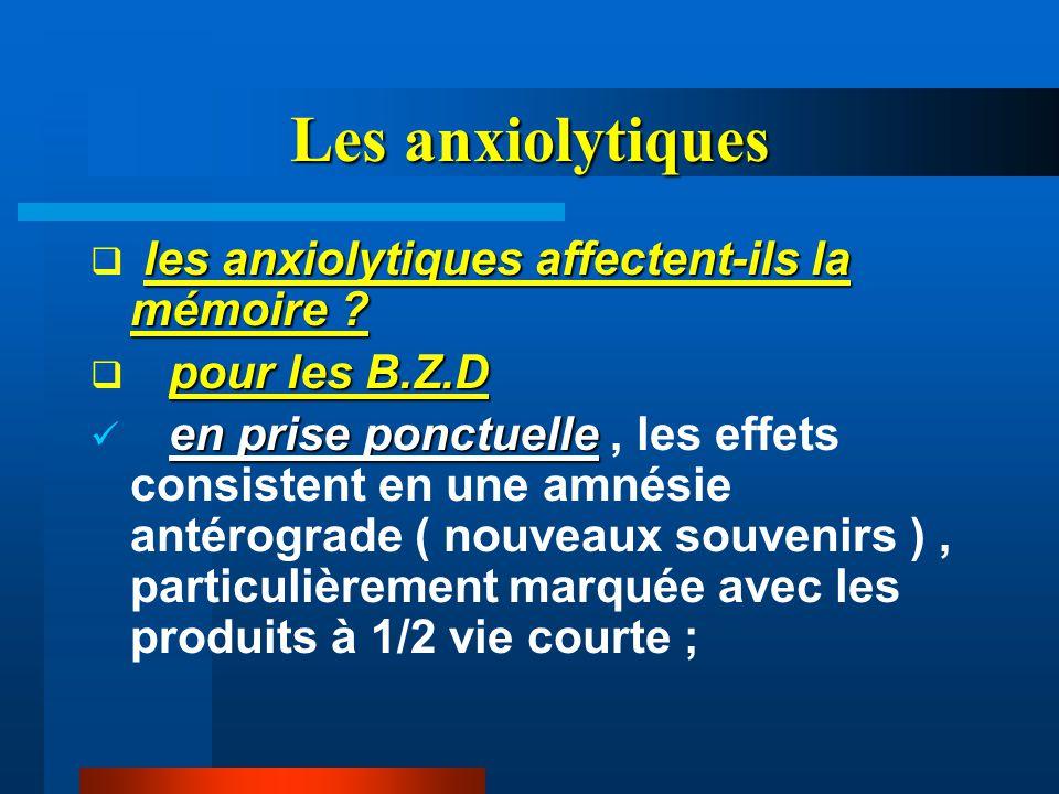 Les anxiolytiques les anxiolytiques affectent-ils la mémoire
