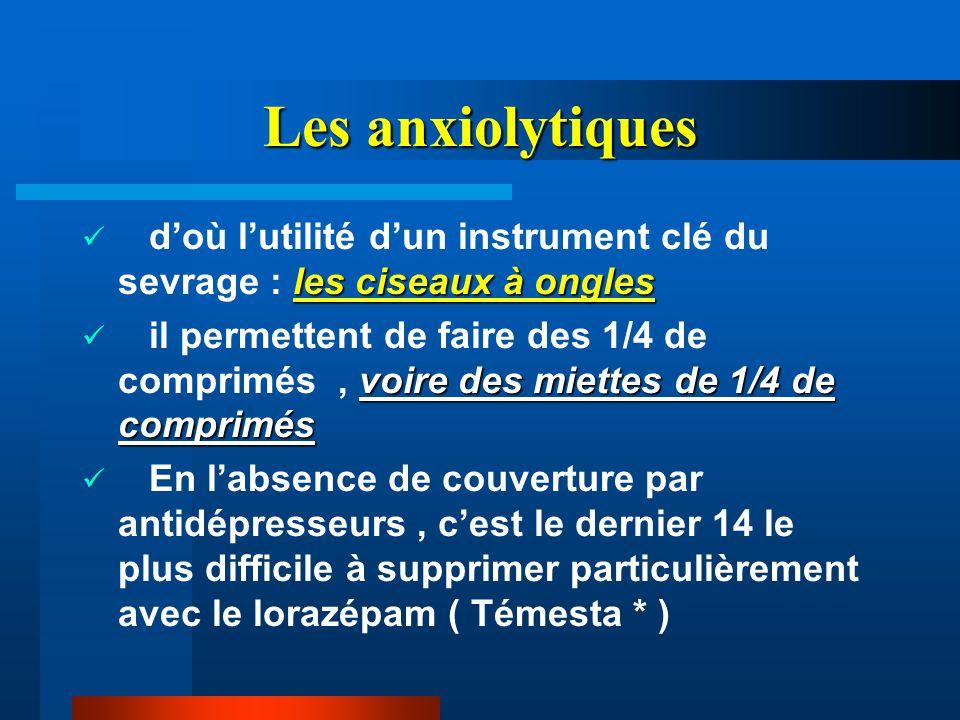 Les anxiolytiques d'où l'utilité d'un instrument clé du sevrage : les ciseaux à ongles.