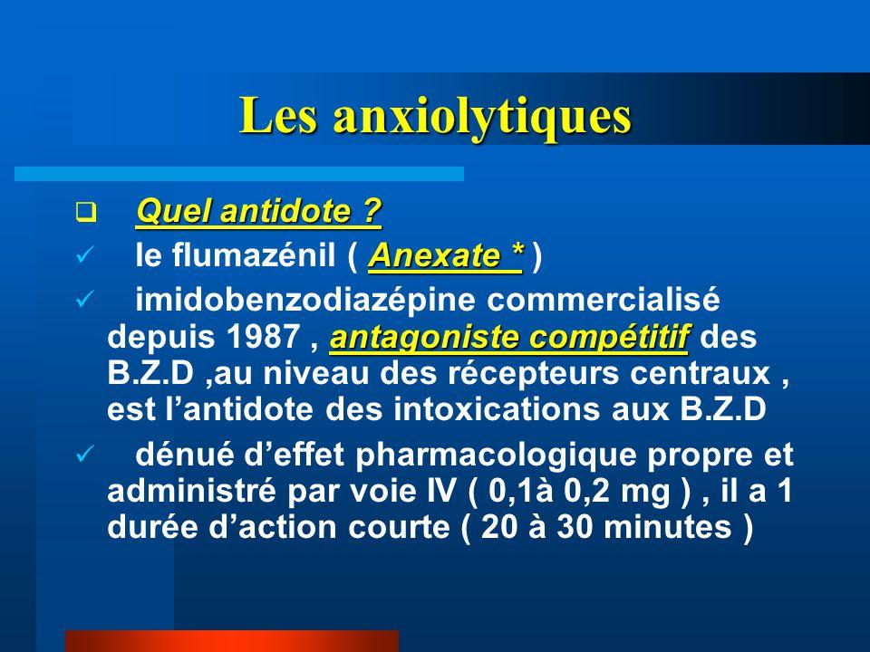 Les anxiolytiques Quel antidote le flumazénil ( Anexate * )