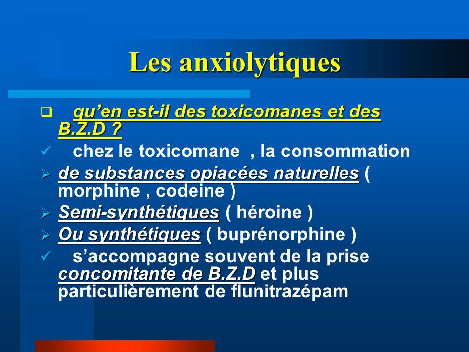 Les anxiolytiques qu'en est-il des toxicomanes et des B.Z.D