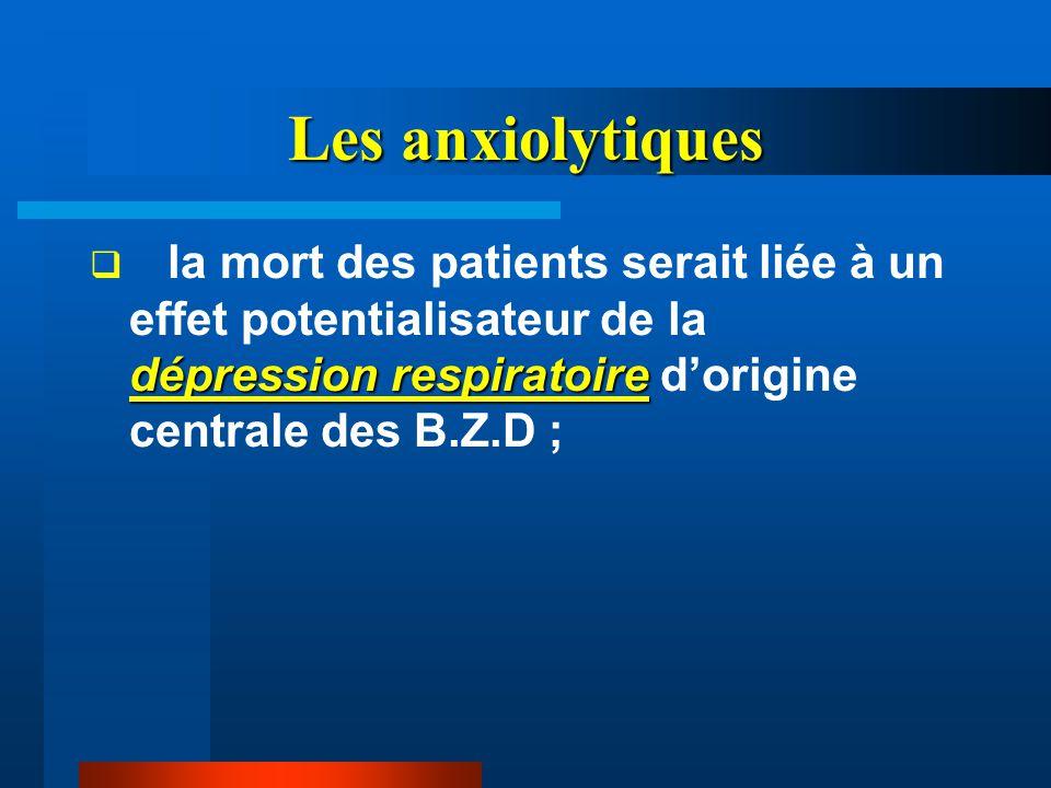 Les anxiolytiques la mort des patients serait liée à un effet potentialisateur de la dépression respiratoire d'origine centrale des B.Z.D ;