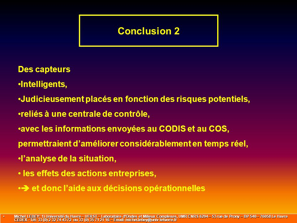 Conclusion 2 Des capteurs Intelligents,
