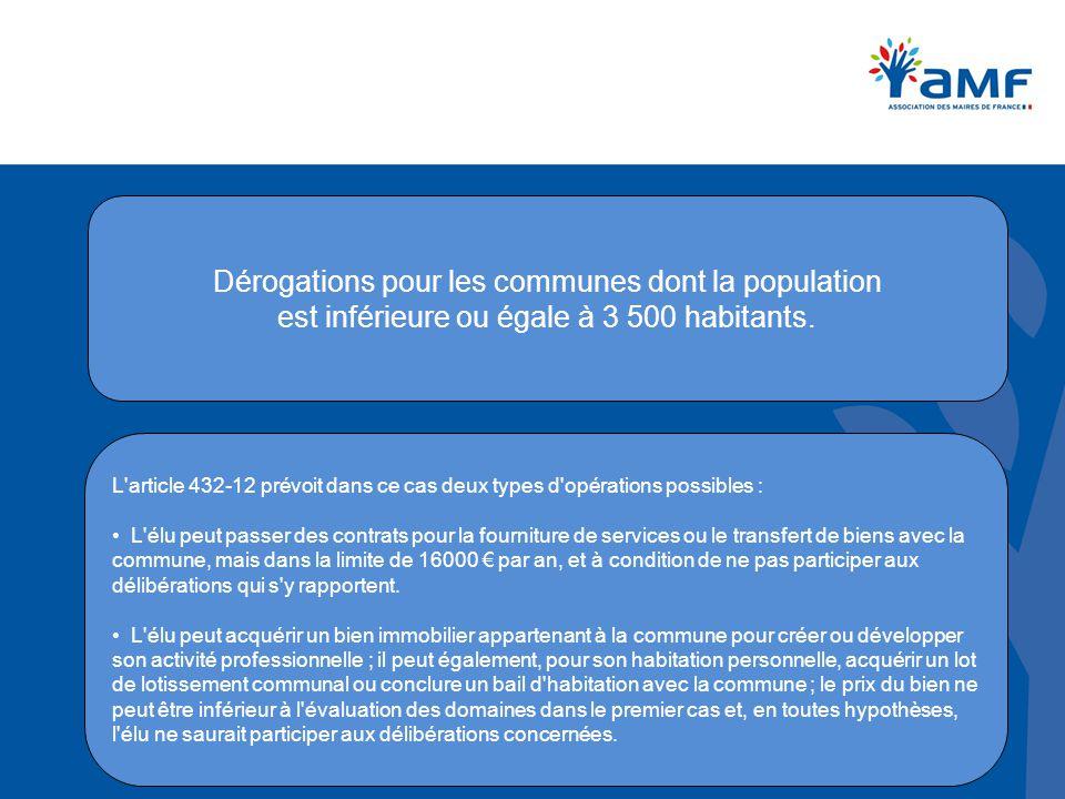 Dérogations pour les communes dont la population