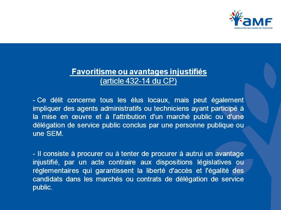 Favoritisme ou avantages injustifiés (article 432‑14 du CP)