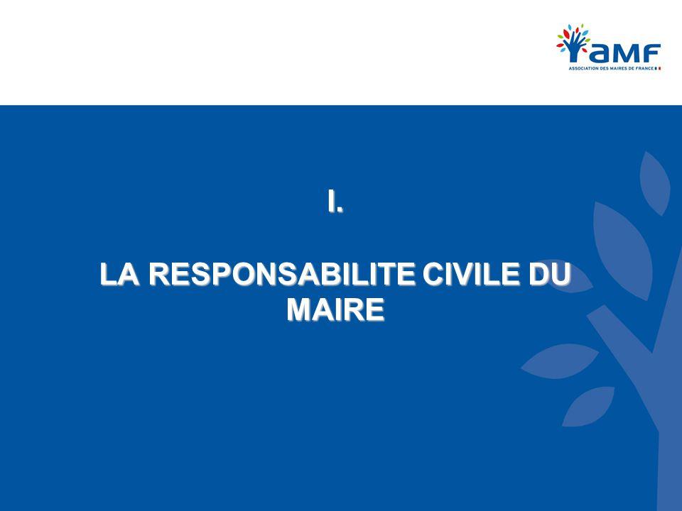 I. LA RESPONSABILITE CIVILE DU MAIRE