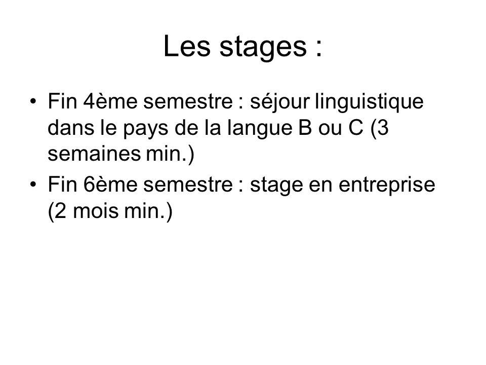 Les stages : Fin 4ème semestre : séjour linguistique dans le pays de la langue B ou C (3 semaines min.)
