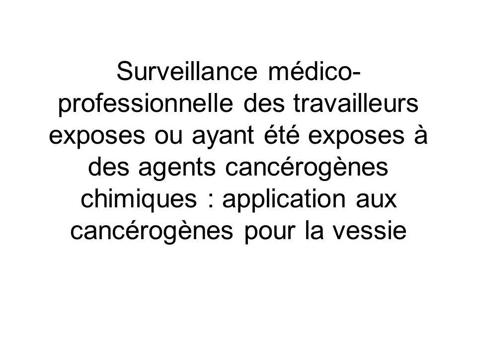 Surveillance médico-professionnelle des travailleurs exposes ou ayant été exposes à des agents cancérogènes chimiques : application aux cancérogènes pour la vessie