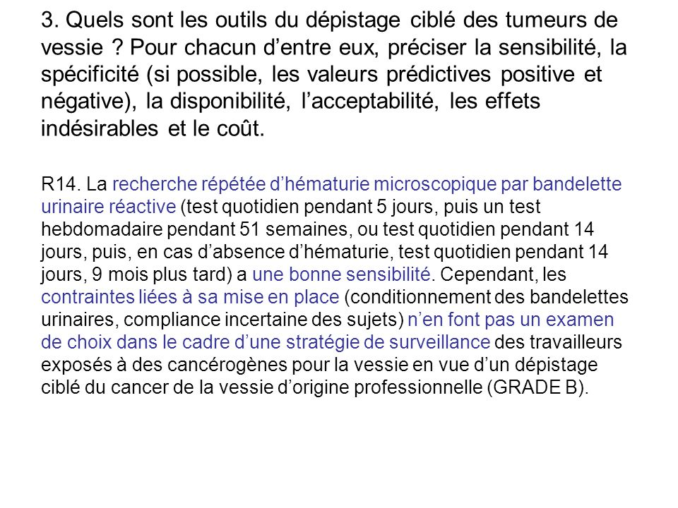 3. Quels sont les outils du dépistage ciblé des tumeurs de vessie
