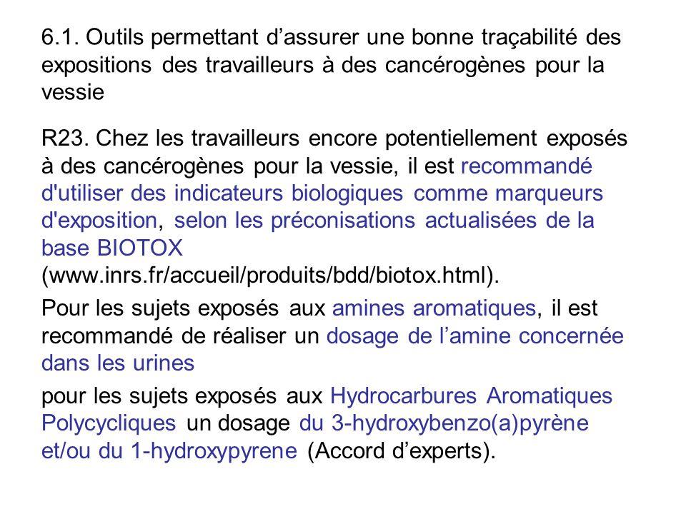 6.1. Outils permettant d'assurer une bonne traçabilité des expositions des travailleurs à des cancérogènes pour la vessie