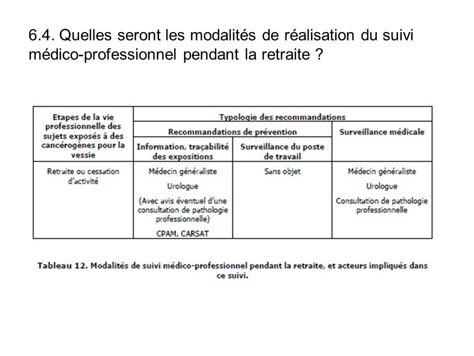 6.4. Quelles seront les modalités de réalisation du suivi médico-professionnel pendant la retraite
