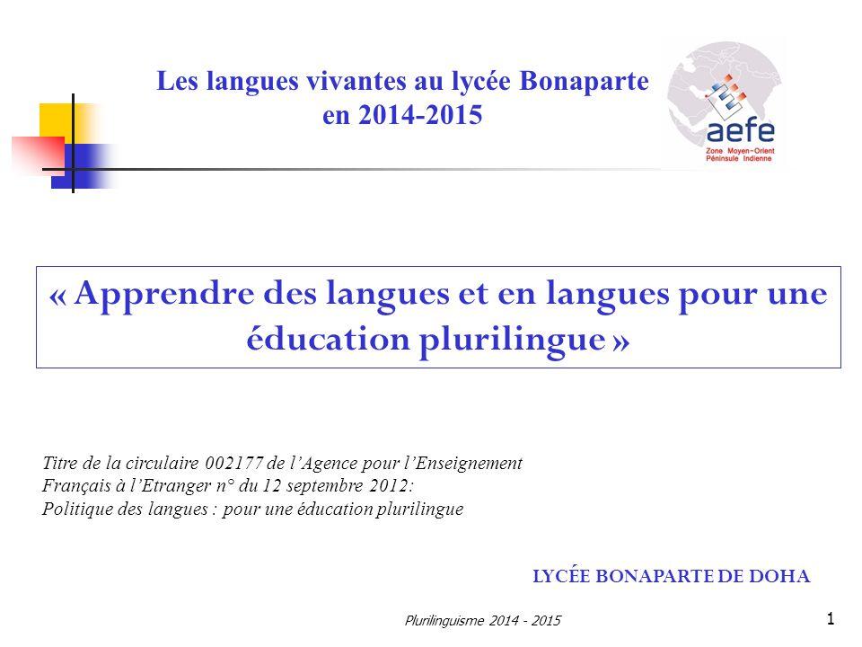« Apprendre des langues et en langues pour une éducation plurilingue »