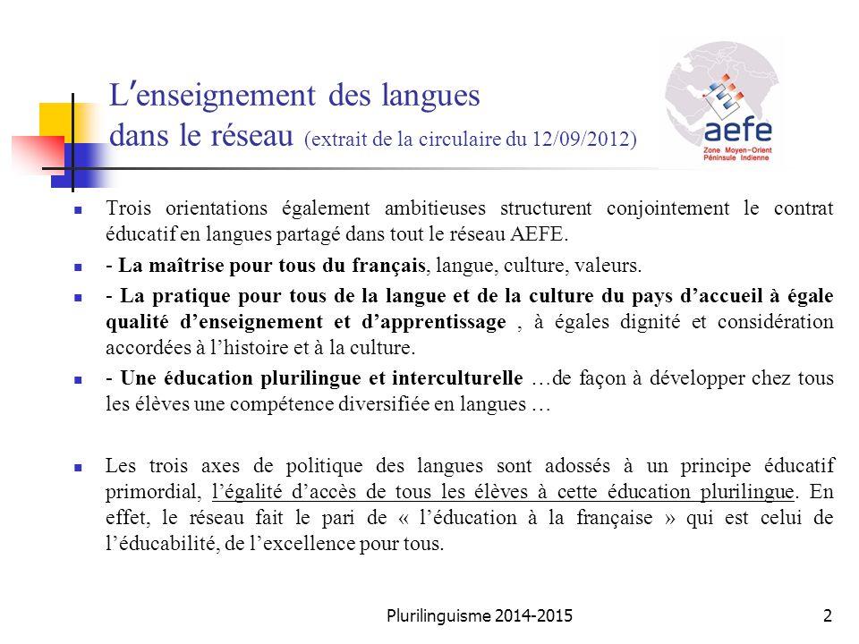 L'enseignement des langues dans le réseau (extrait de la circulaire du 12/09/2012)