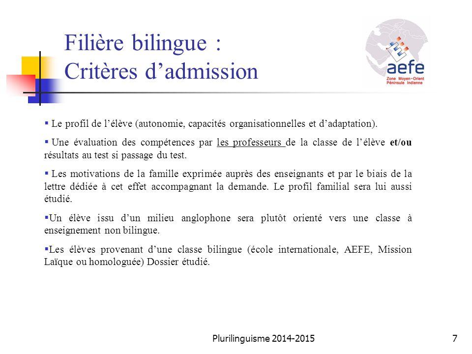 Filière bilingue : Critères d'admission