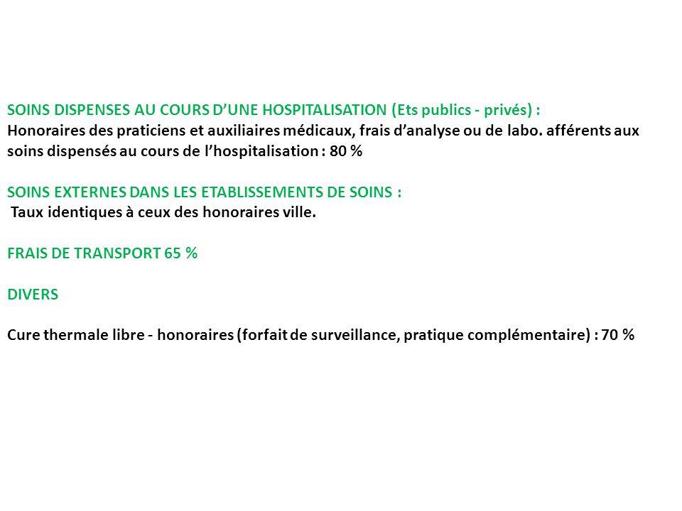 SOINS DISPENSES AU COURS D'UNE HOSPITALISATION (Ets publics - privés) :