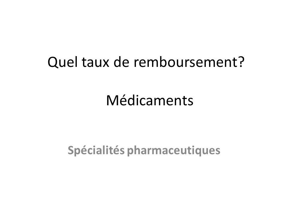 Quel taux de remboursement Médicaments