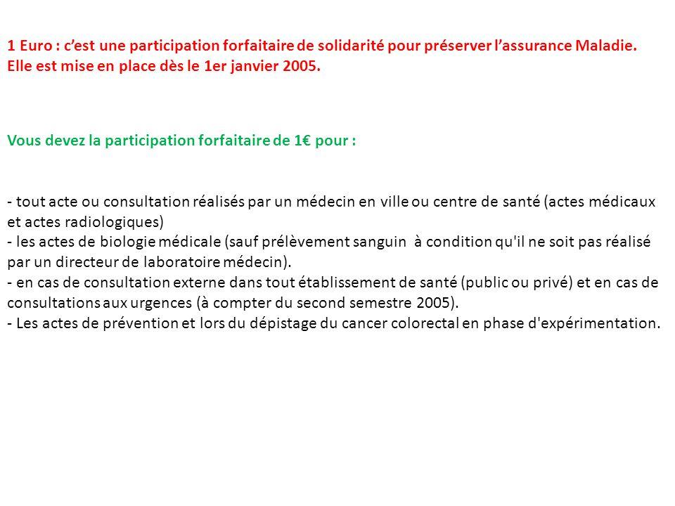 1 Euro : c'est une participation forfaitaire de solidarité pour préserver l'assurance Maladie. Elle est mise en place dès le 1er janvier 2005.