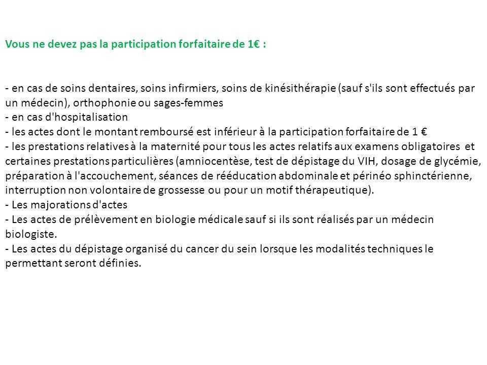 Vous ne devez pas la participation forfaitaire de 1€ :