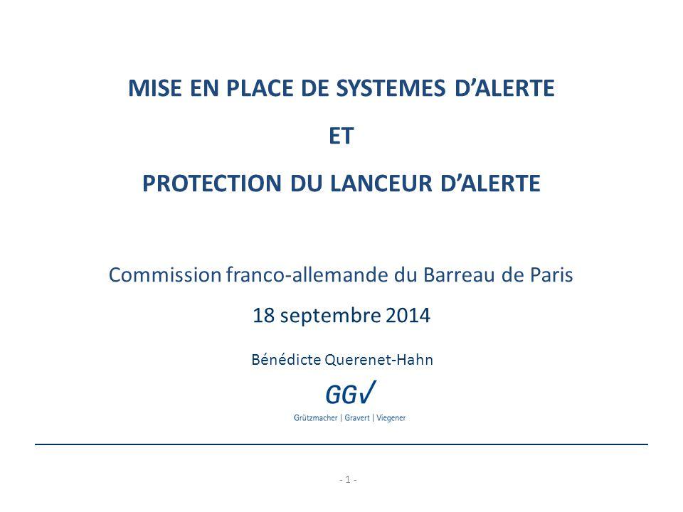 MISE EN PLACE DE SYSTEMES D'ALERTE PROTECTION DU LANCEUR D'ALERTE
