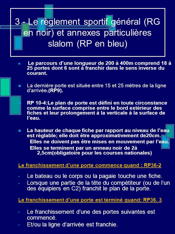 3 - Le règlement sportif général (RG en noir) et annexes particulières slalom (RP en bleu)